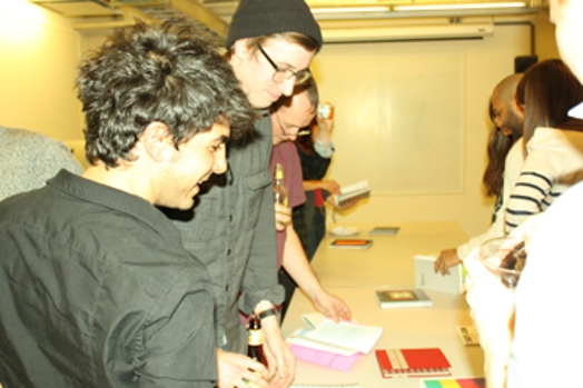 students engaging with books