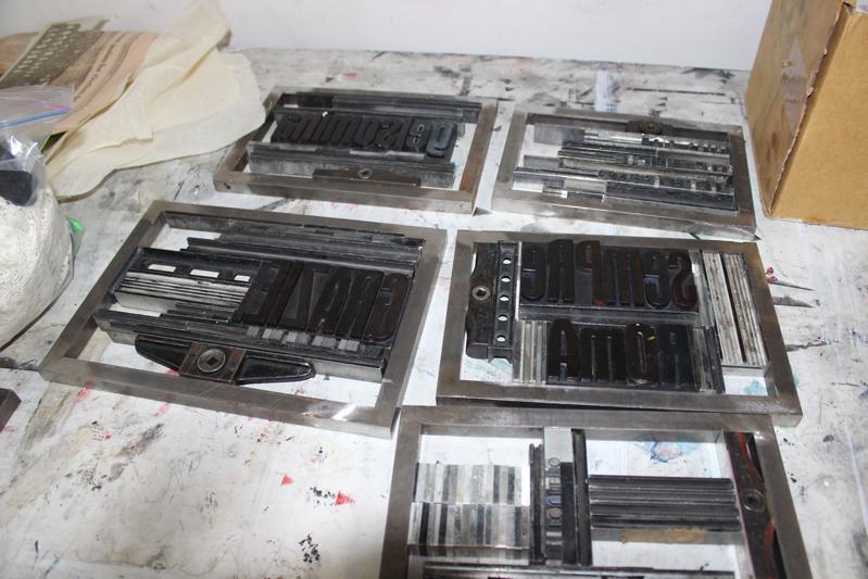 metal letterpress tools
