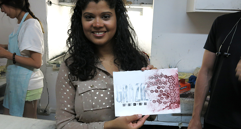 silk screened type on paper