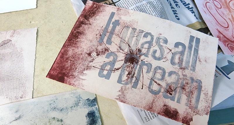 silkscreened type on paper