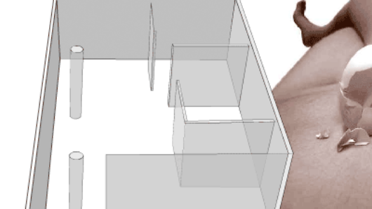 abstract rendering of a building and a person with a metallic egg