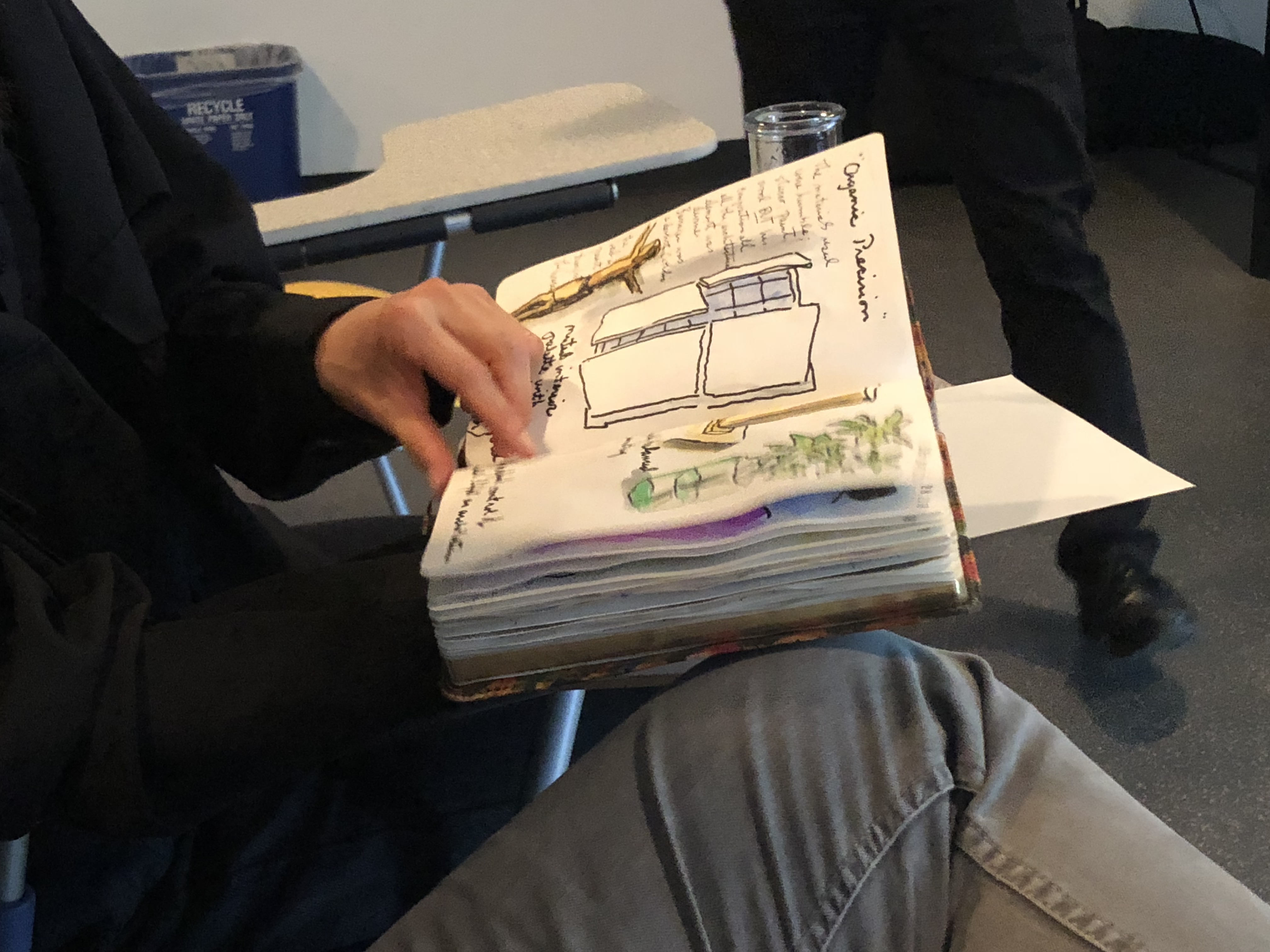Ken Carbone guest lecture notes, drawings by a student