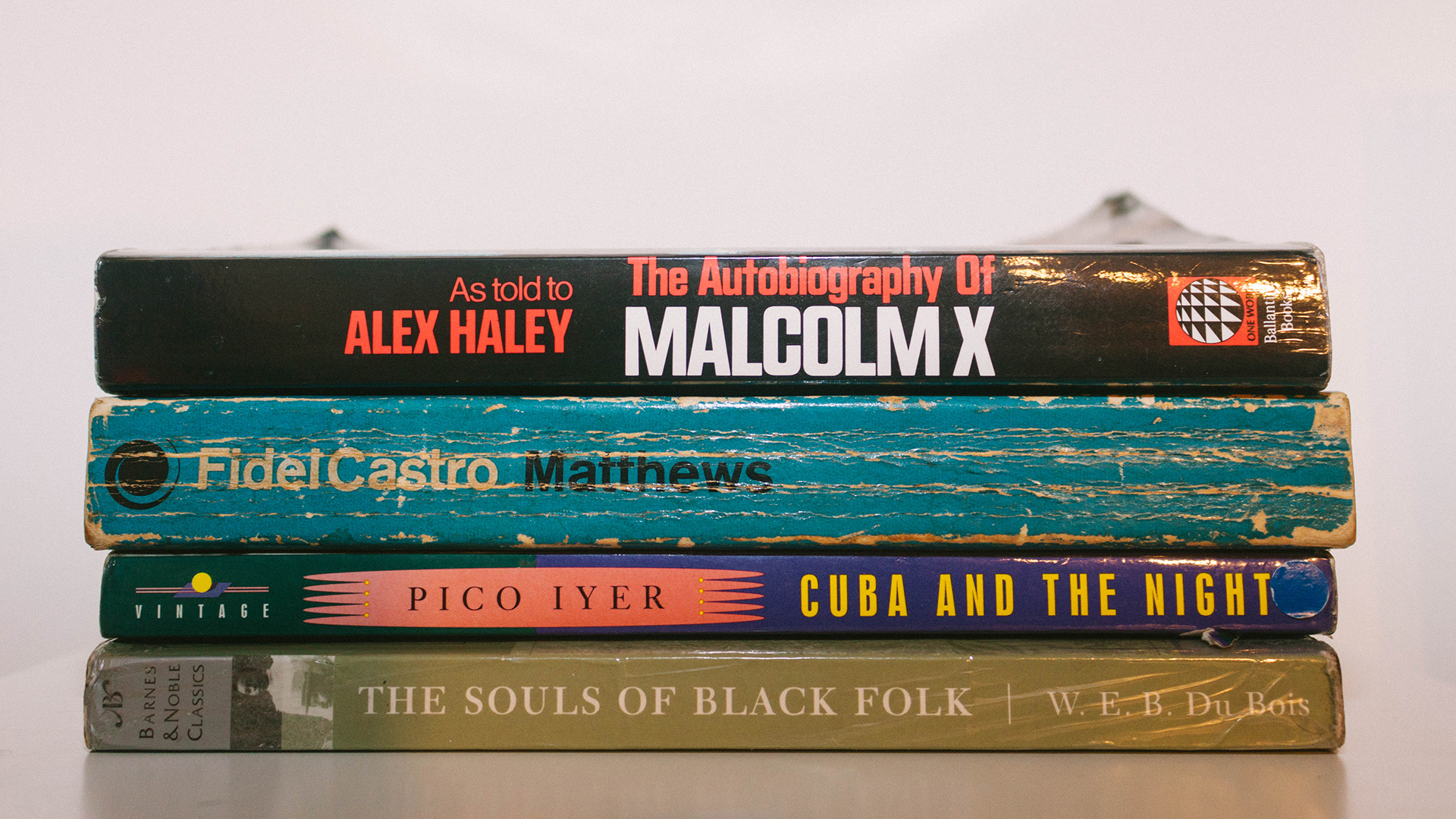 stacks of four books