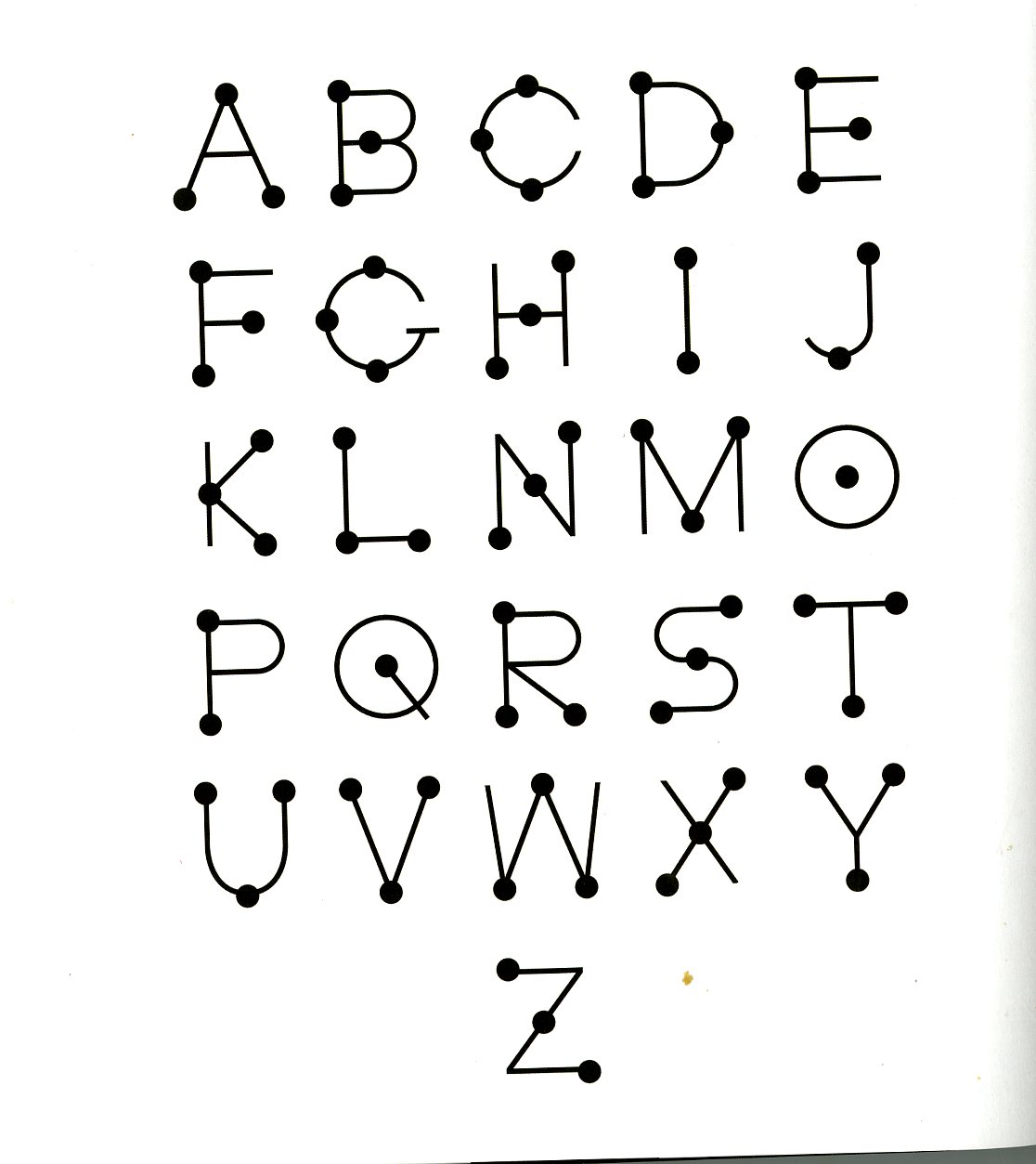 Alphabet typography design out of dots and lines