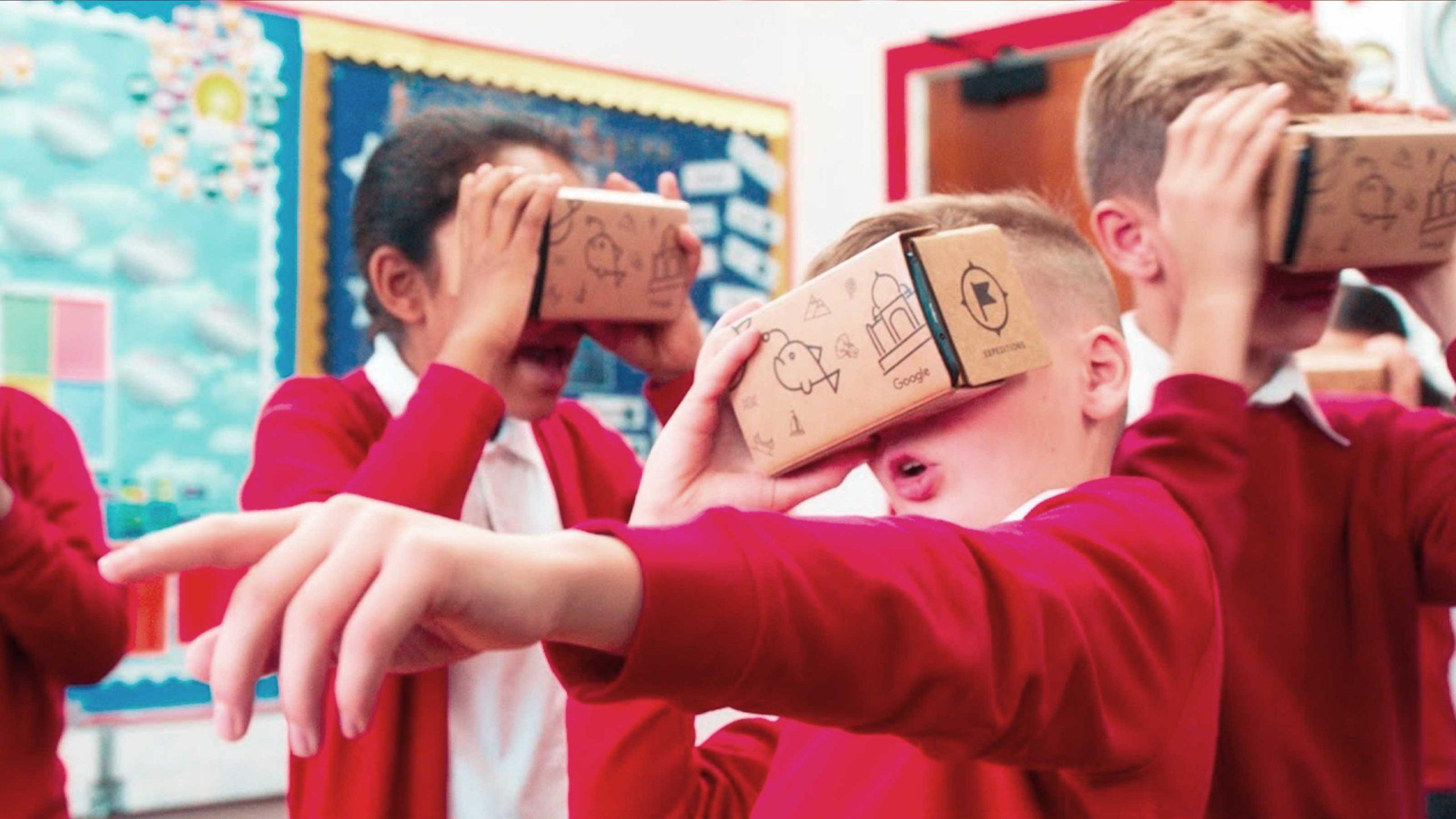 students engaging with cardboard binoculars