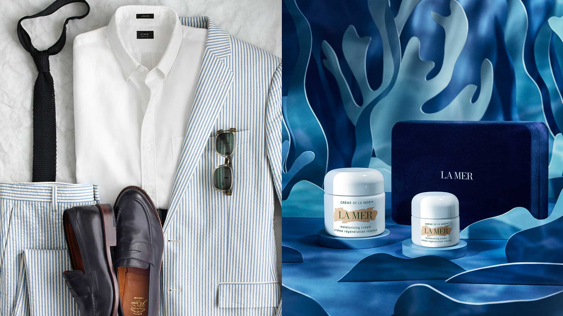 diptych of formal clothes to the left, and La Mer packaging design on the right