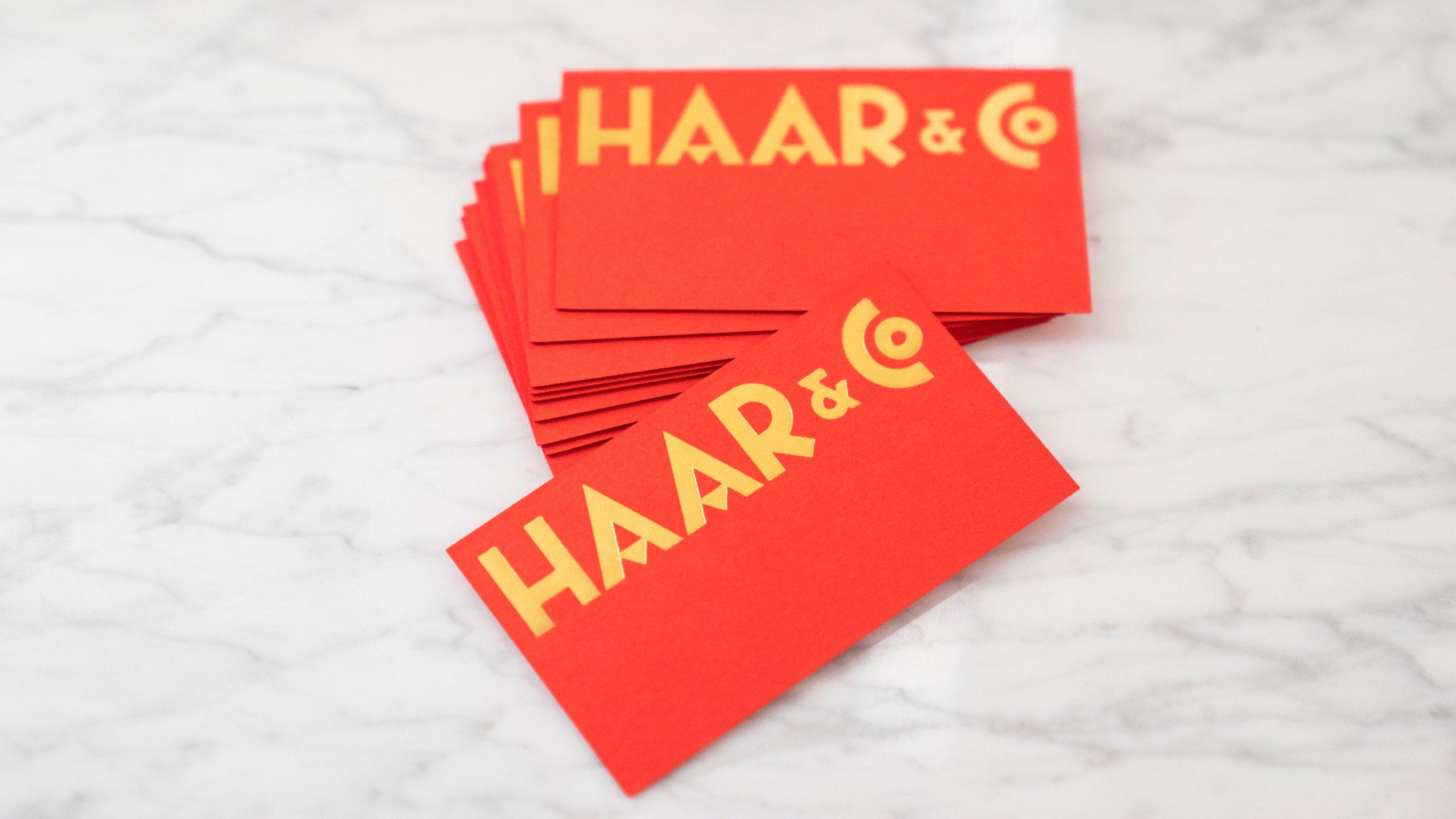 Haar&Co logo and business card