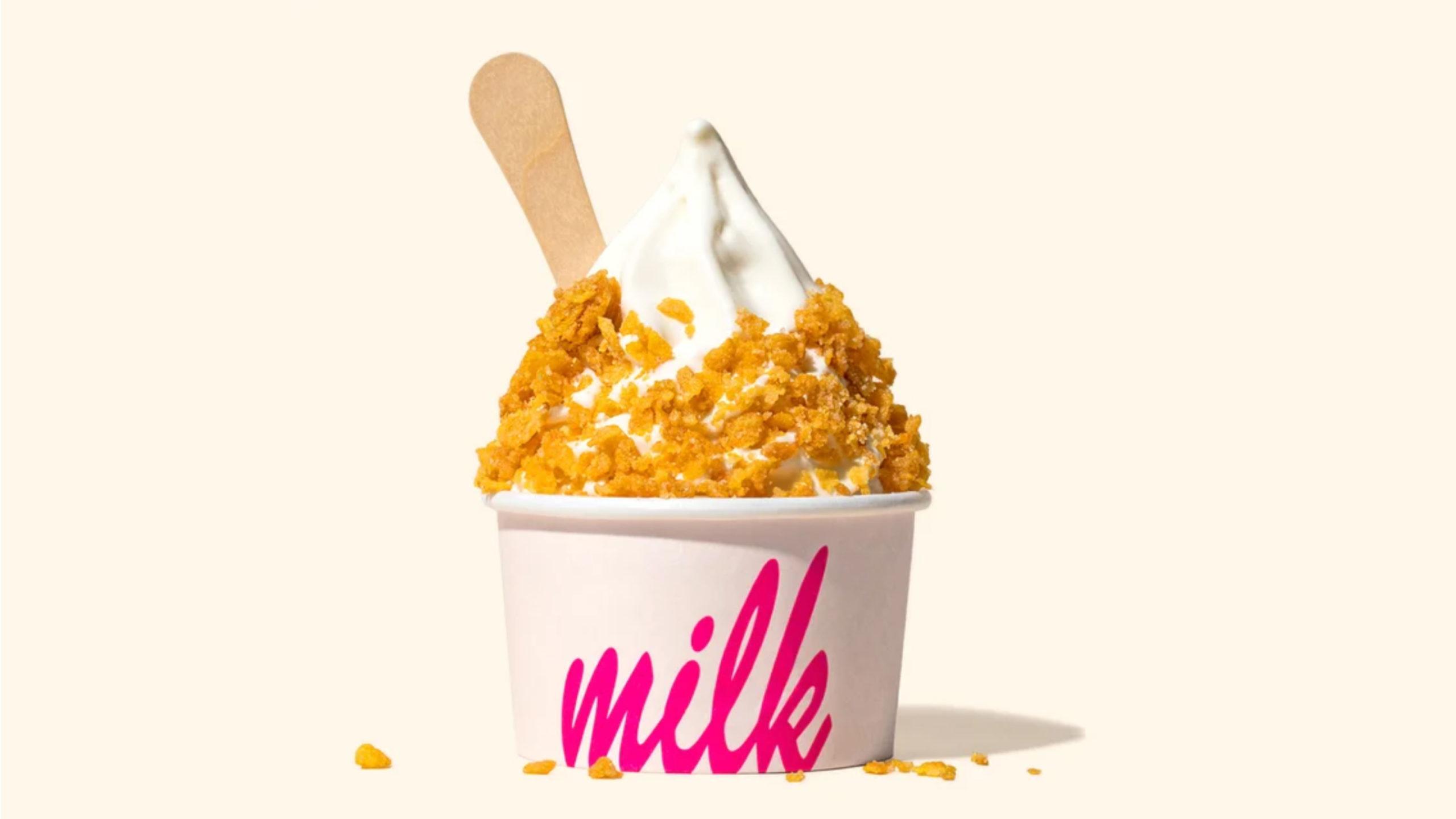 milk logo on ice cream cup