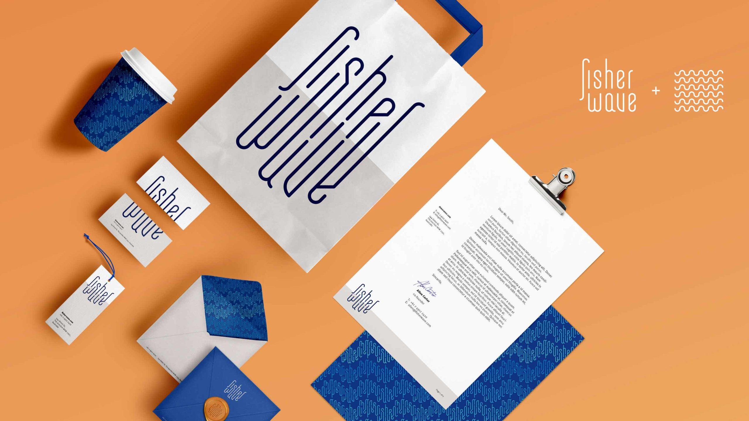 Fisher identity design; stationery and logo