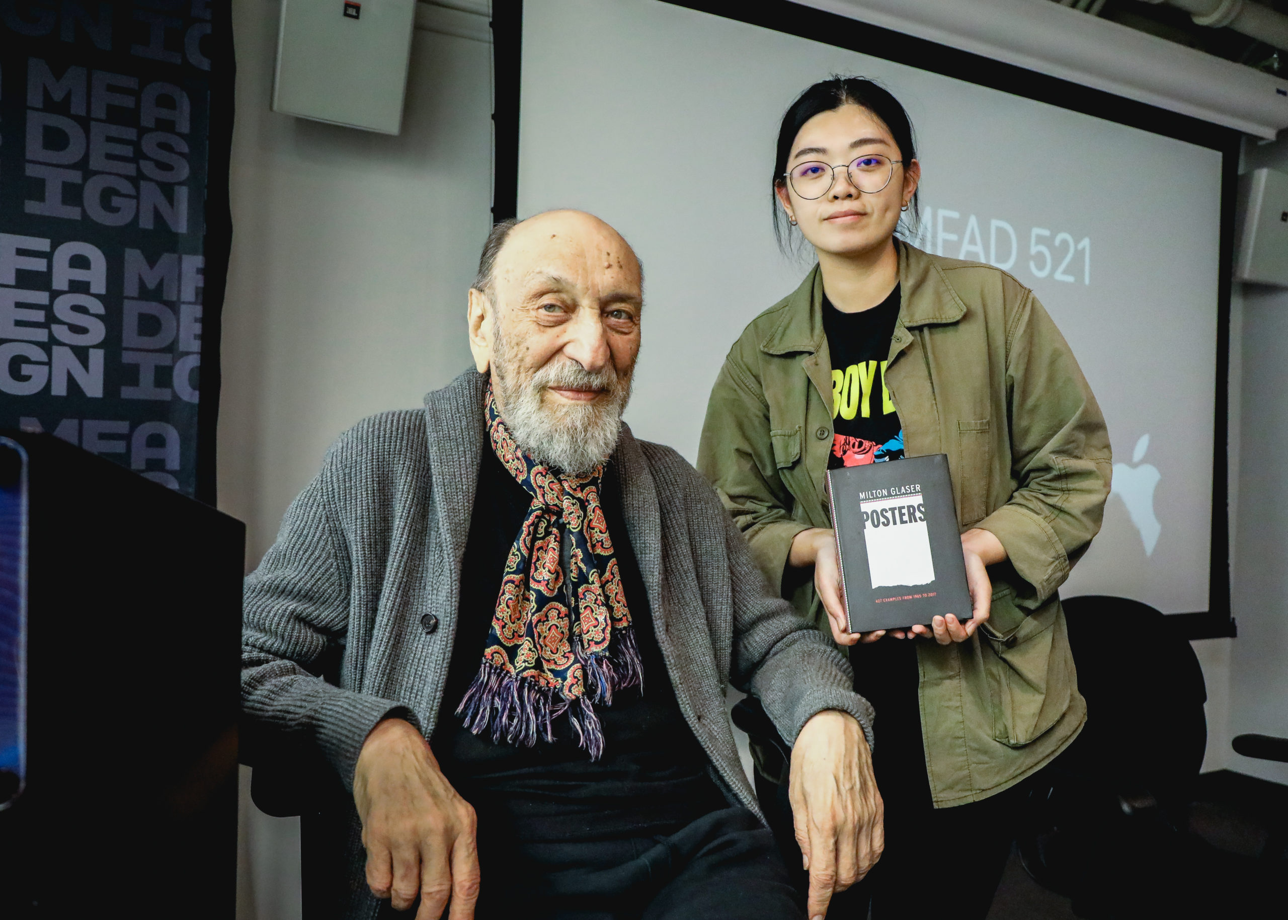 Milton Glaser with student