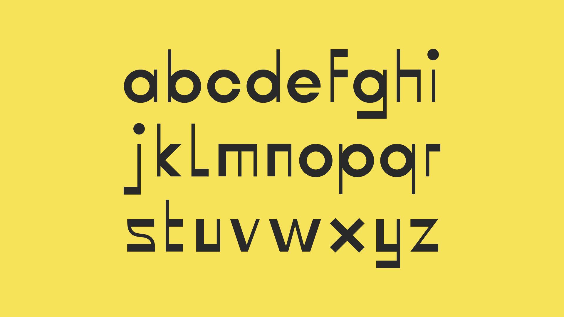 black custom alphabets on yellow background