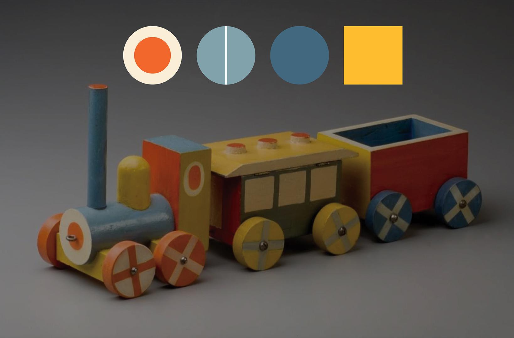 wooden toy train designed by Ladislav Sutnar