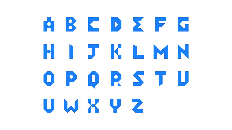 blue alphabets on white background