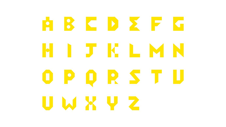yellow alphabets on white background