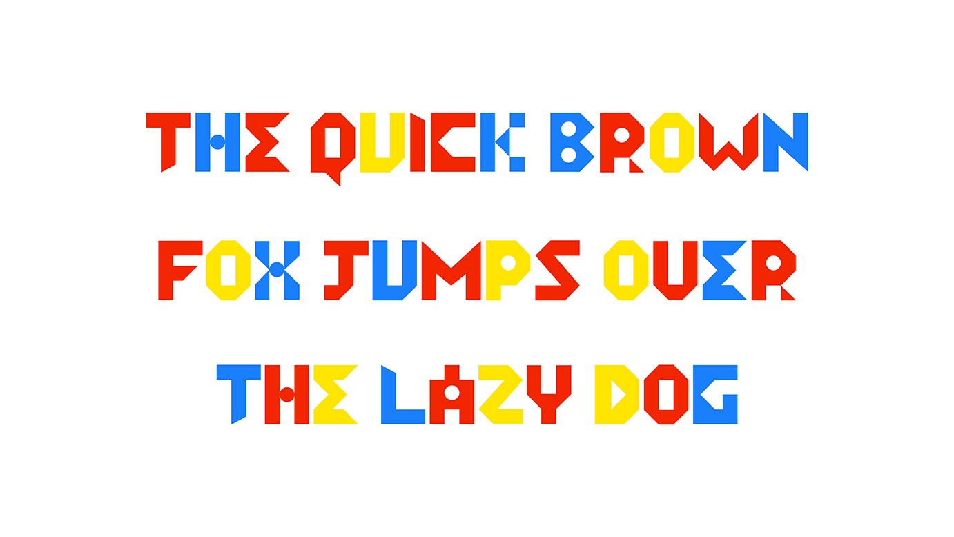 red, blue and yellow type on white background