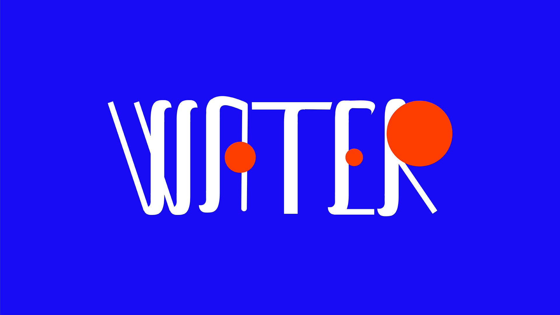 custom type design in bright blue, orange and white