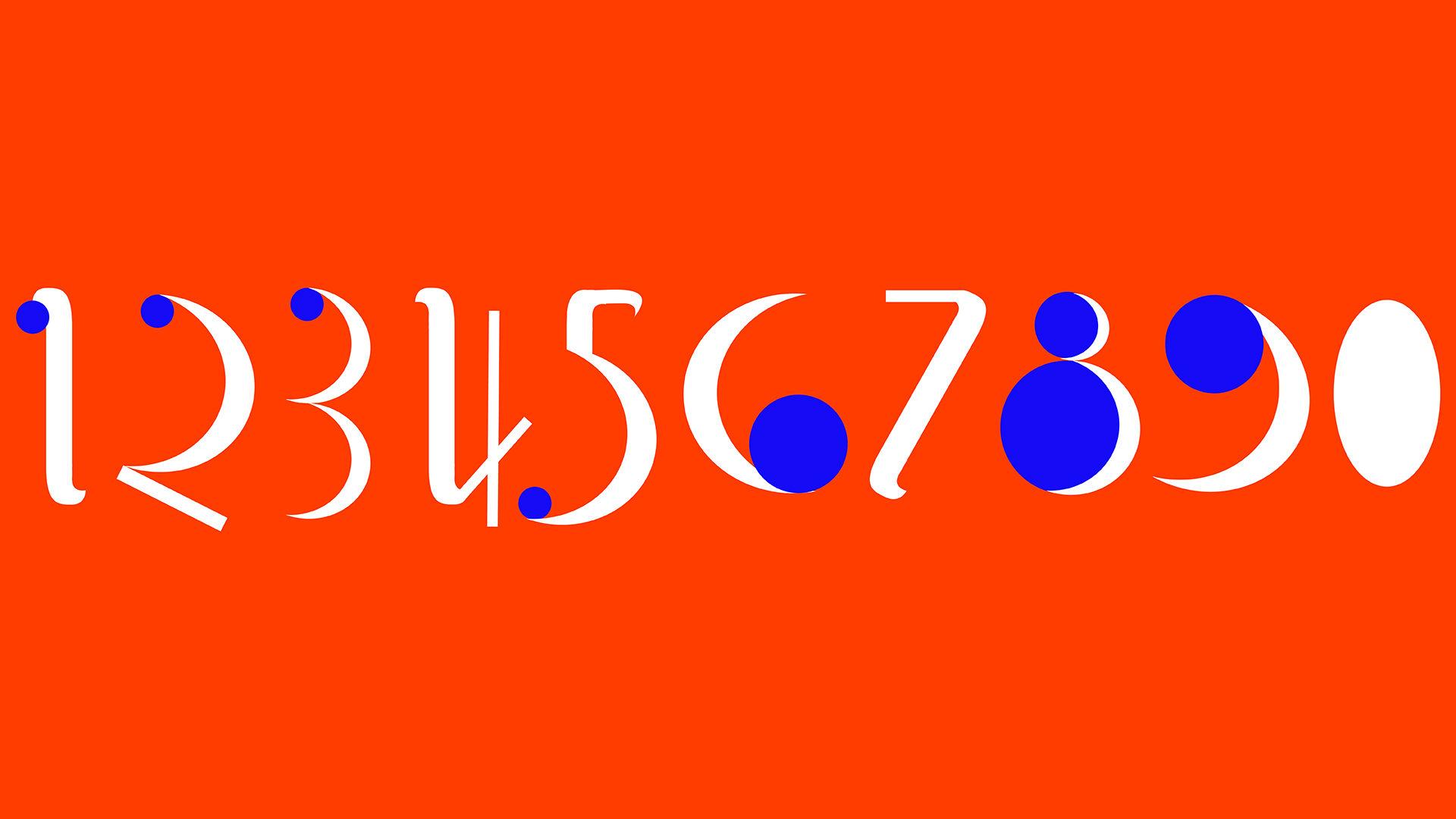 custom numericals in bright blue, orange and white