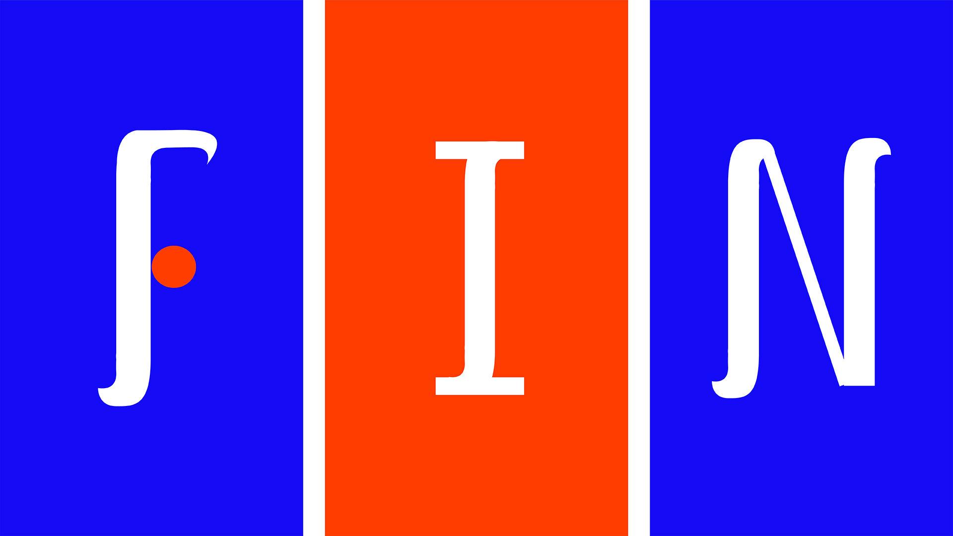 """""""FIN"""" custom type design in bright blue, orange and white"""