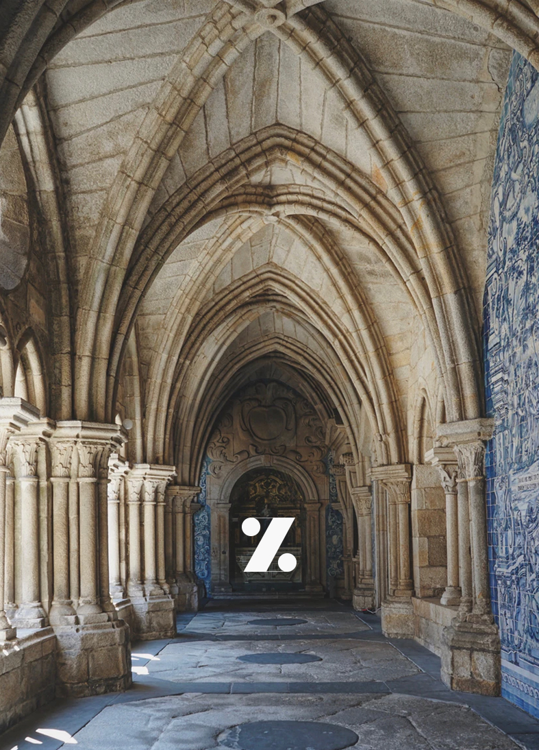 z letter with background image of indoor arches