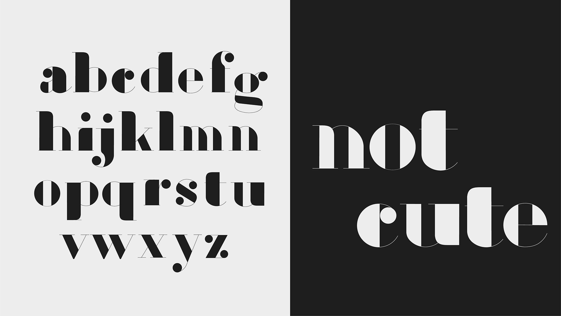 custom serif typeface in black and white
