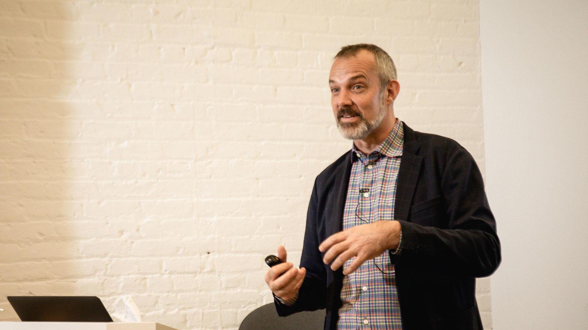 Josh Clark presenting to students