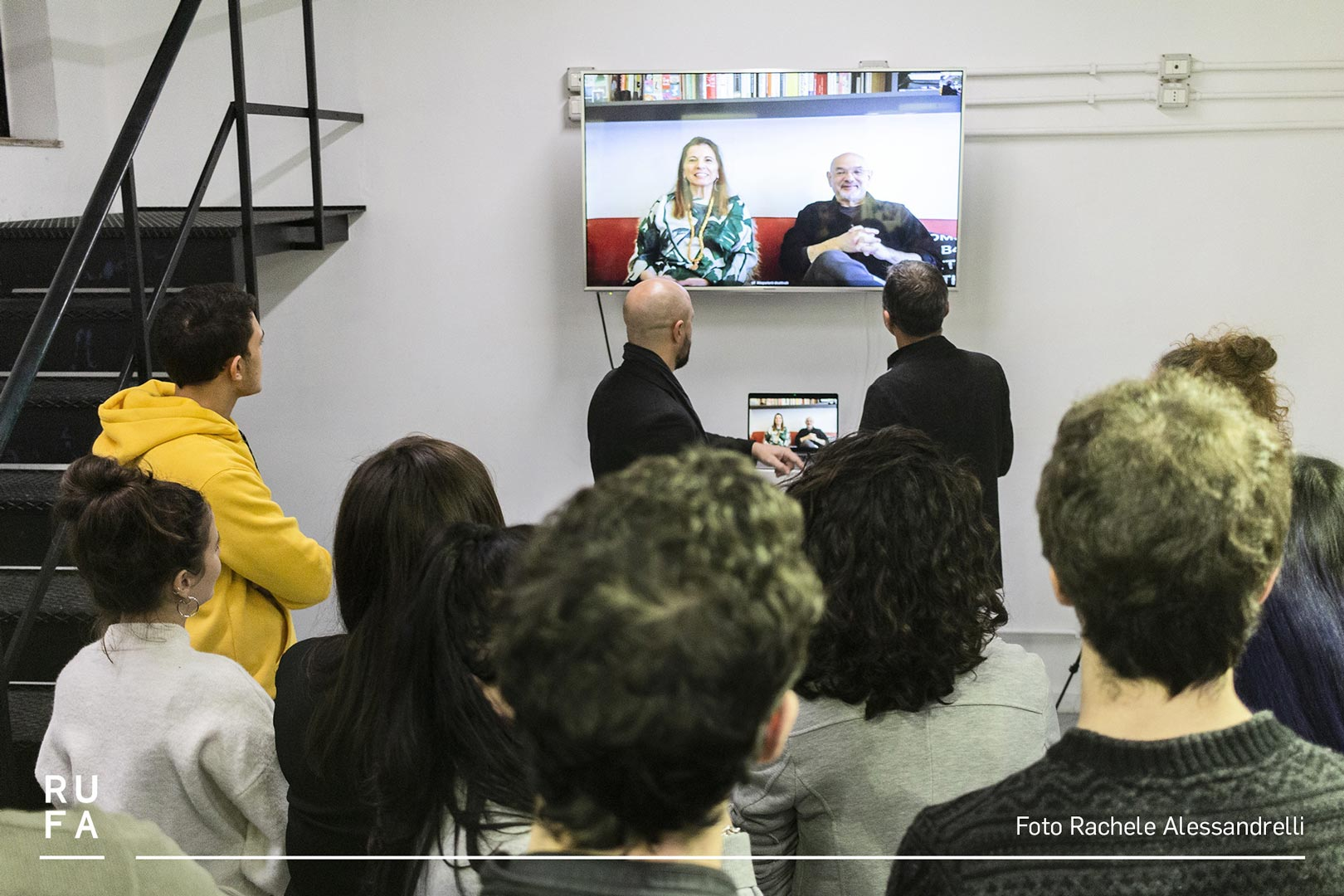 Steve Heller and Lita Talarico video chatting with people through TV