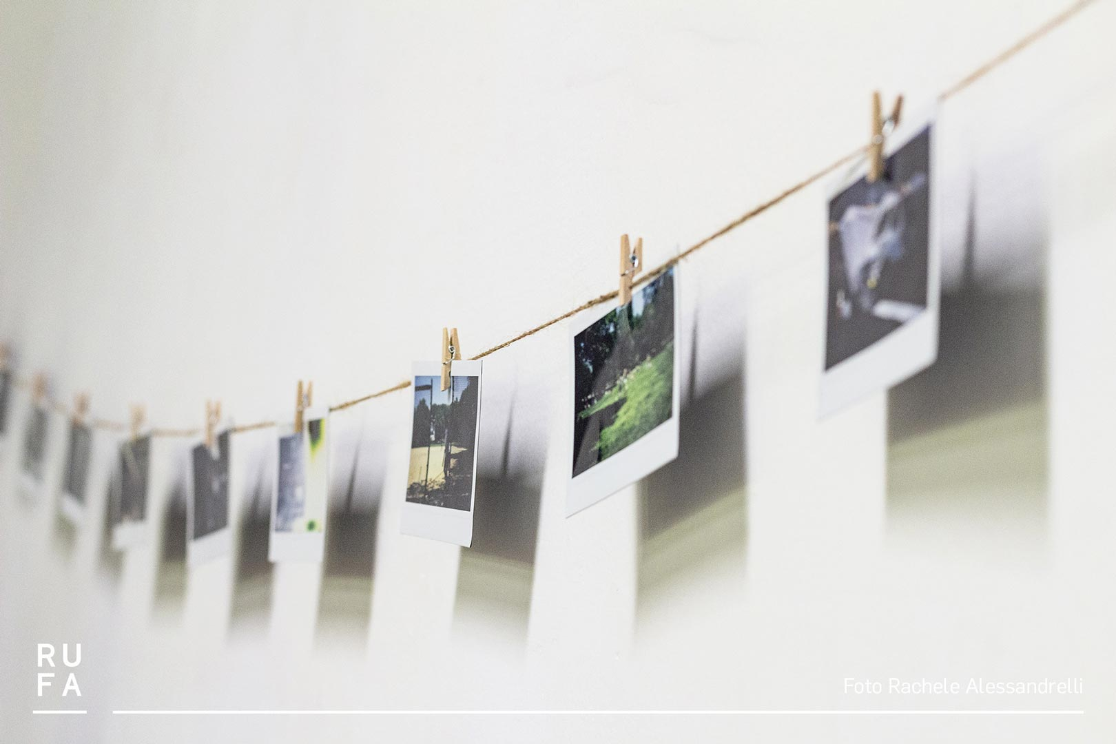 polaroids hung on a string