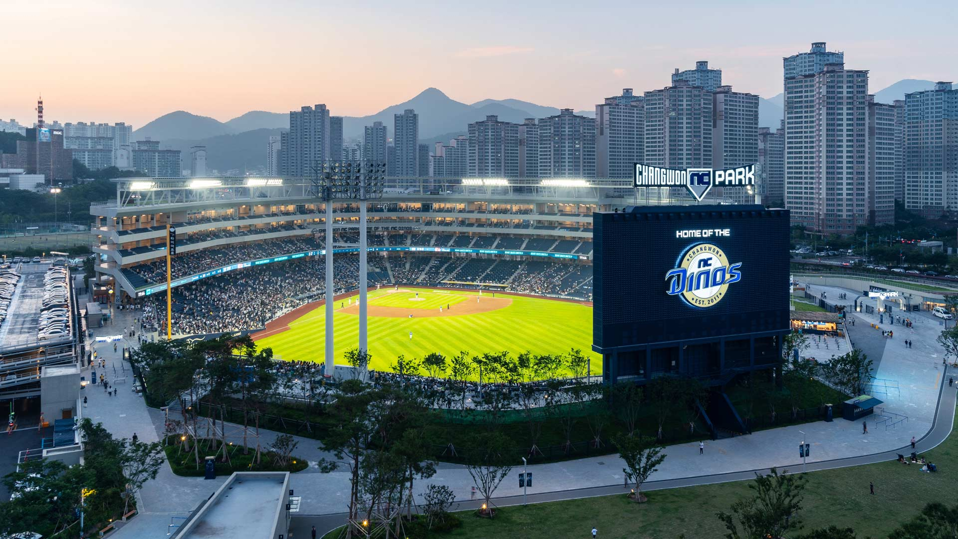 baseball stadium at dusk
