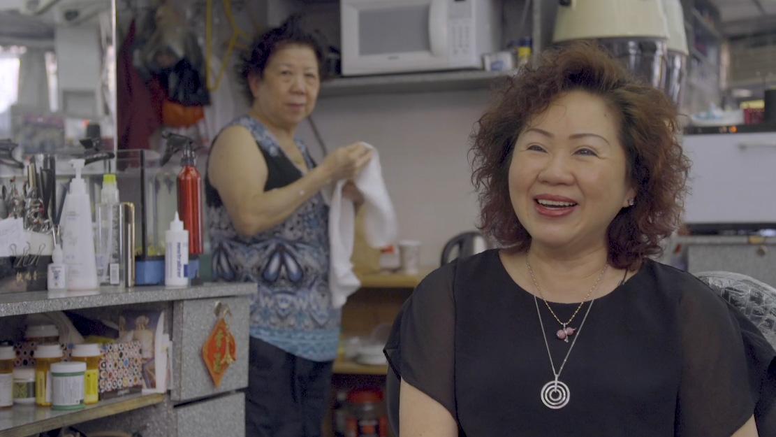 two women in hair salon