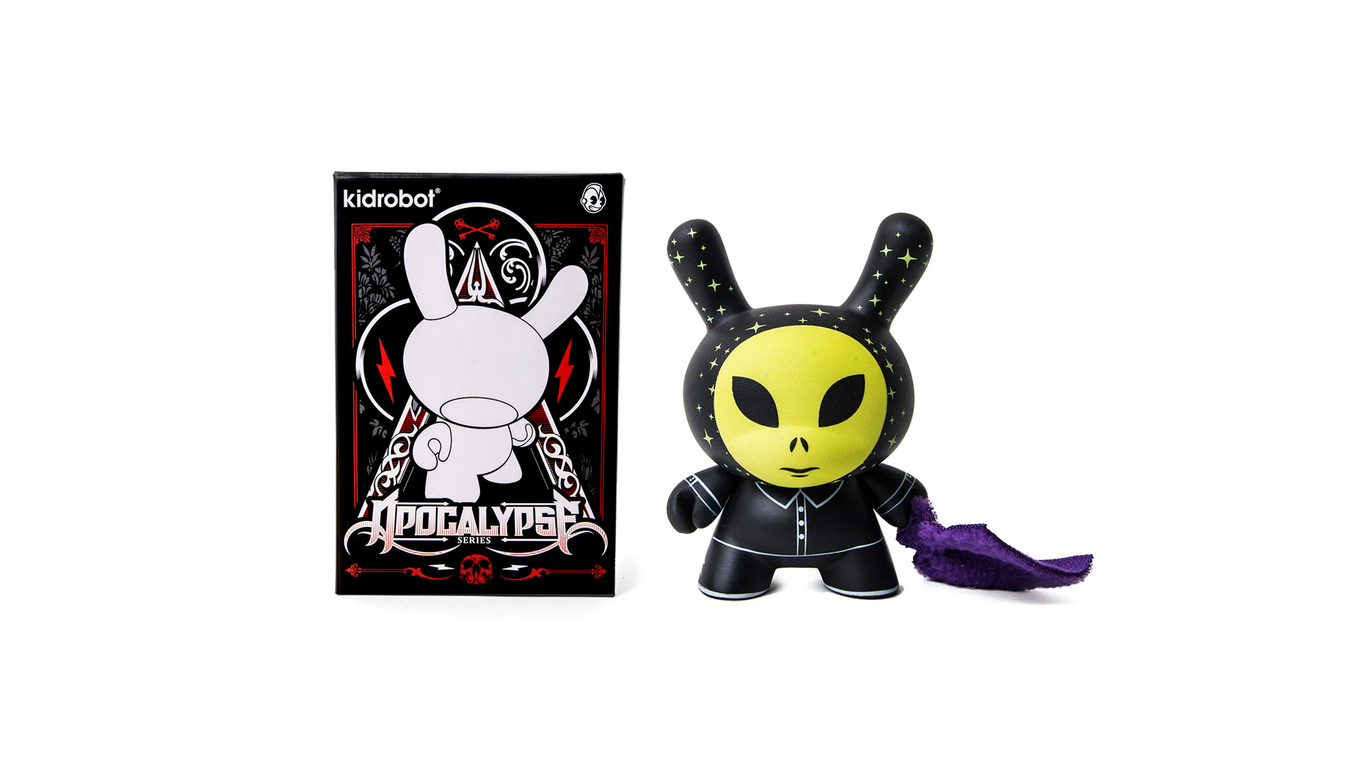 kid robot toy - yellow alien with black bunny costume
