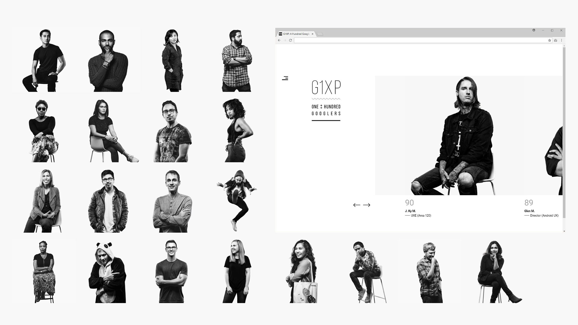 photography website 100 googlers series of black and white photos