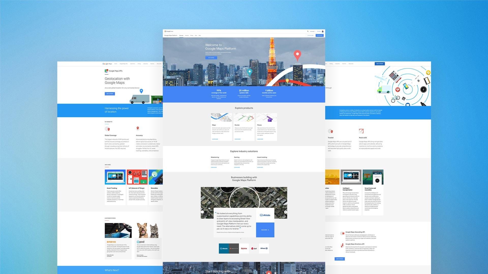 google maps web page interface