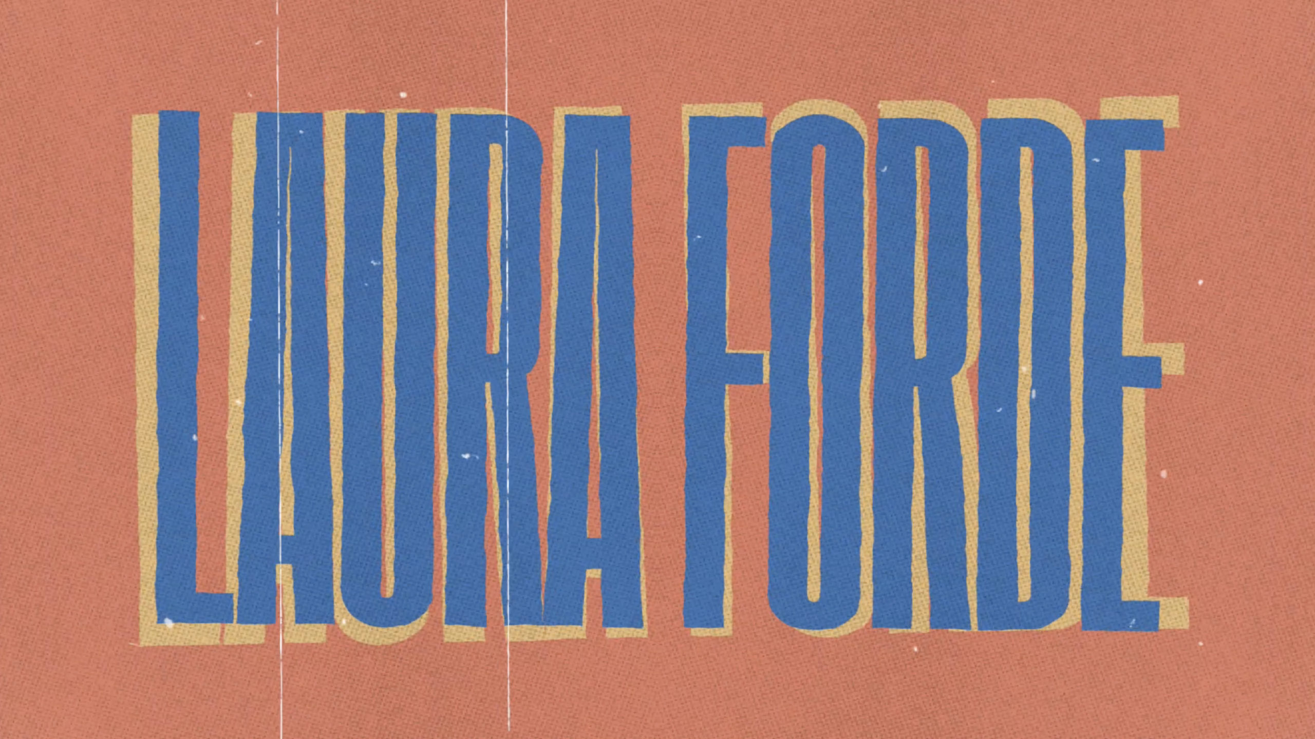 laura forde design in blue letters on orange background