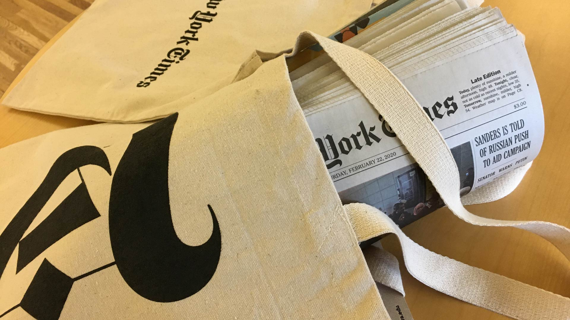 New York Times canvas bags