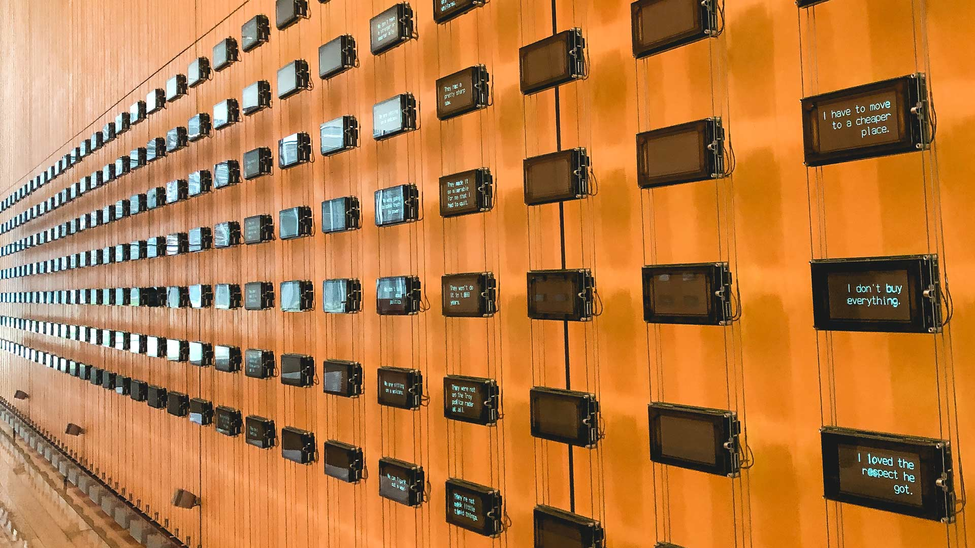 installation of dozens of small LCD screens in the lobby of the NY Times building