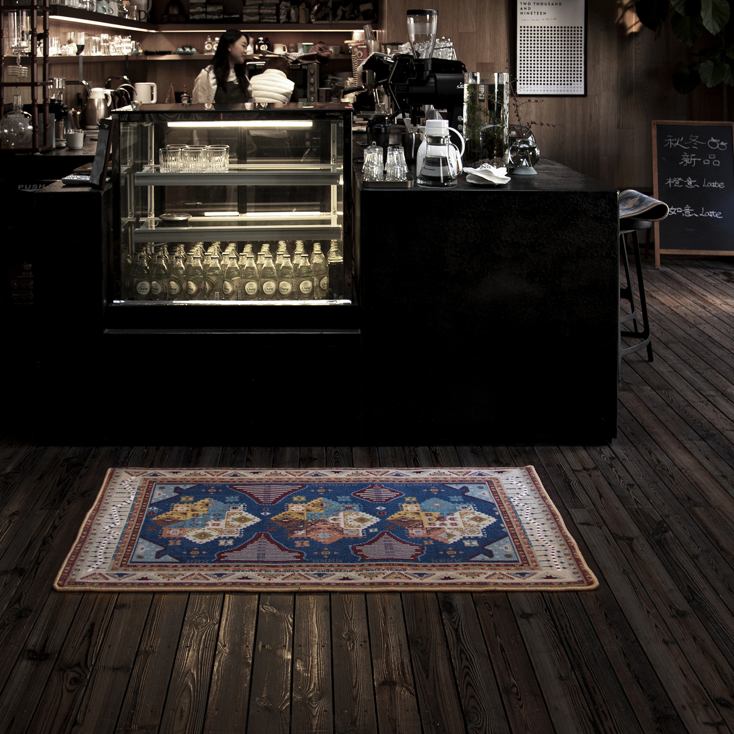 carpet designed by Miao Zhao in use in a cafe