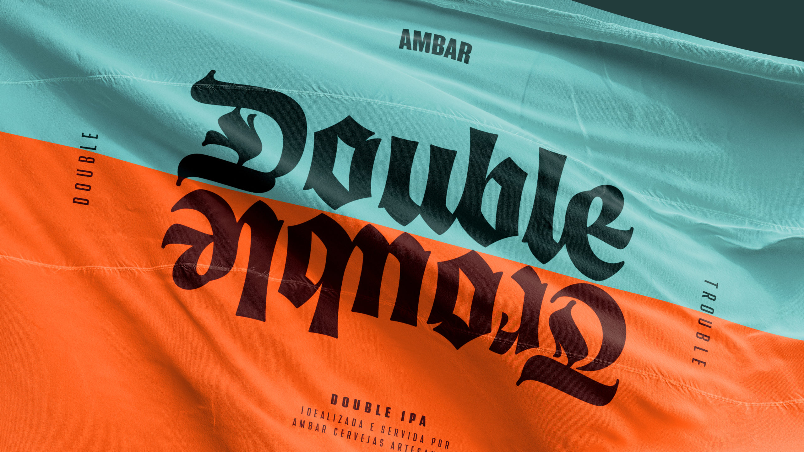 Double Trouble logo and branding on a flag