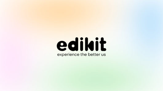 edikit logo and tagline; black type over soft pastel gradient mesh