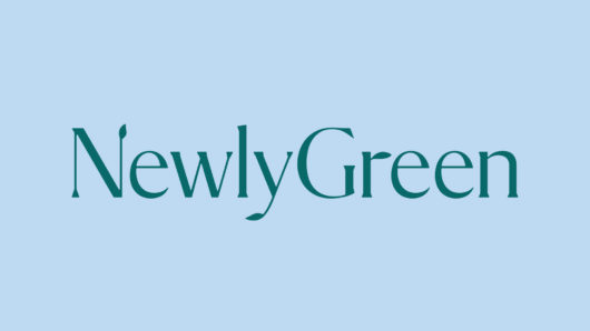 NewlyGreen logo; green type on light blue background