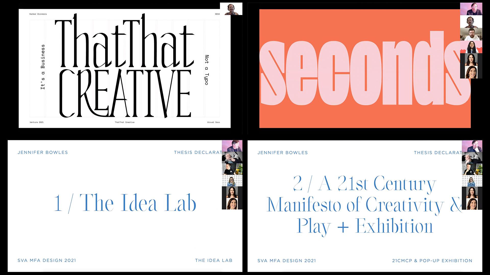 collage of Thesis presentation slides; ThatThat Creative, seconds, Idea Lab, 21st Century Manifesto