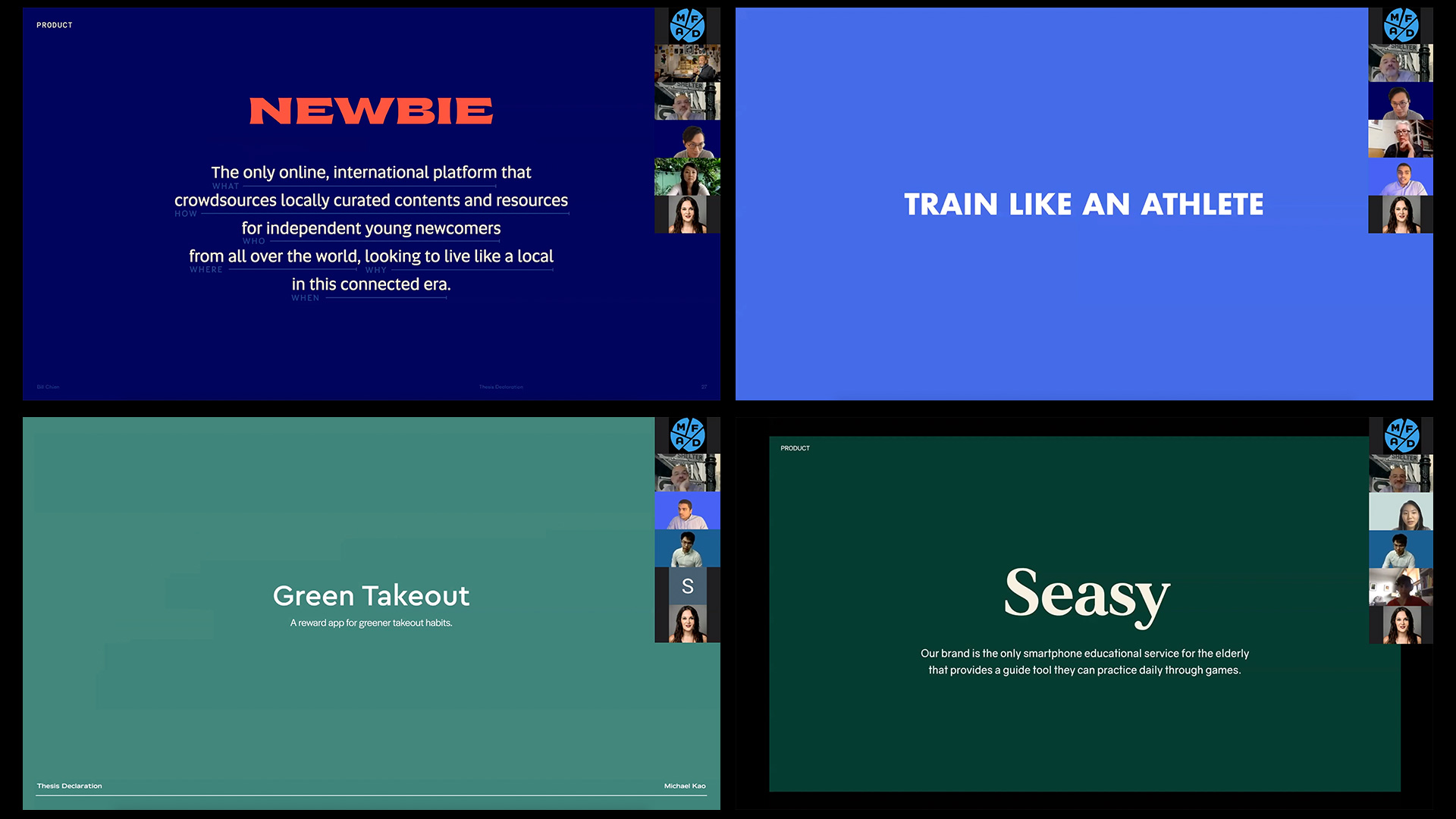 collage of Thesis presentation slides; Newbie, Train like an Athlete, Green takeout, Seasy