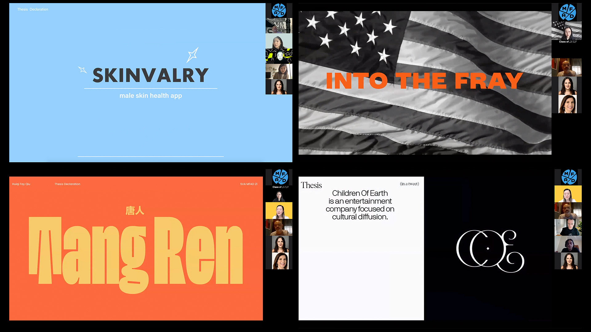 collage of Thesis presentation slides; Skinvalry, Into the Fray, Tang Rem and Children of Earth
