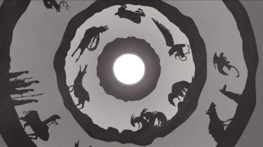 Sunwheel visual; shadowed creatures and people walking in a circular loop with moon in the centre