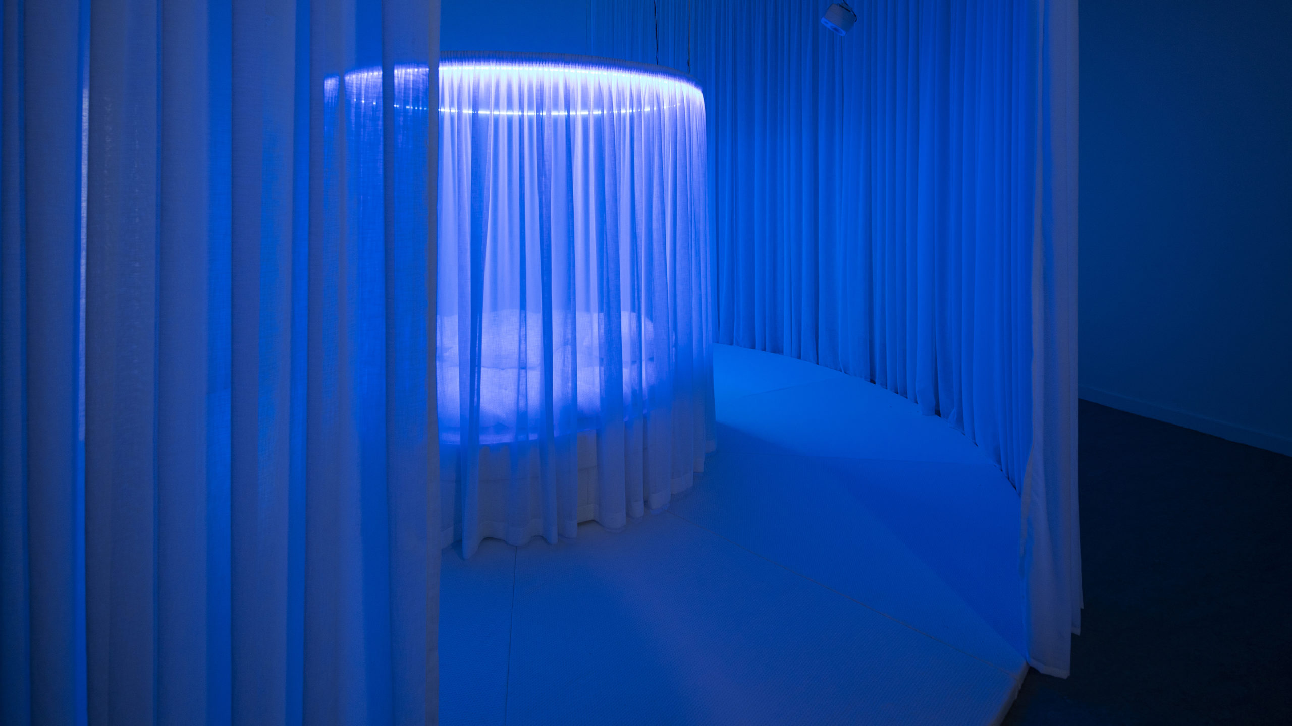 circular bed with curtain surrounded by a larger area of circular curtains bathed in blue light
