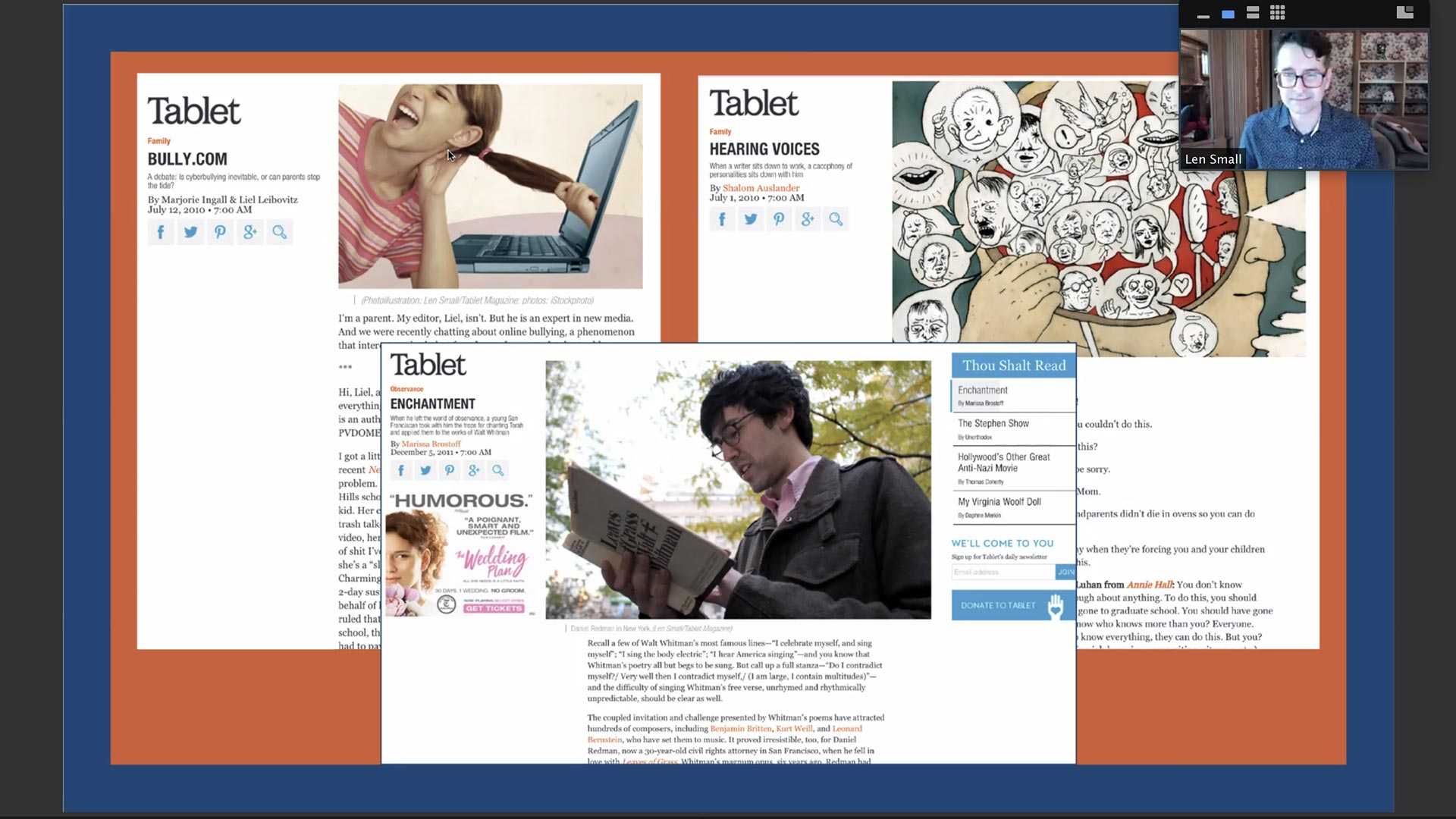 Tablet Magazine spreads from zoom talk