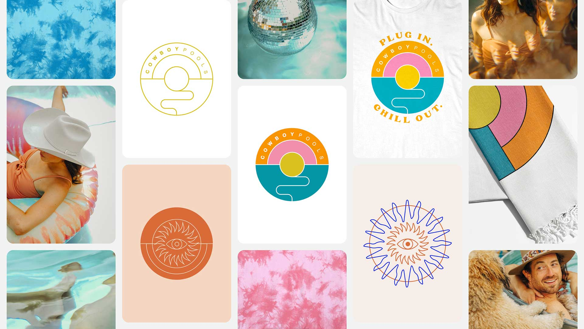 Identity design and moodboard for Cowboy Pools