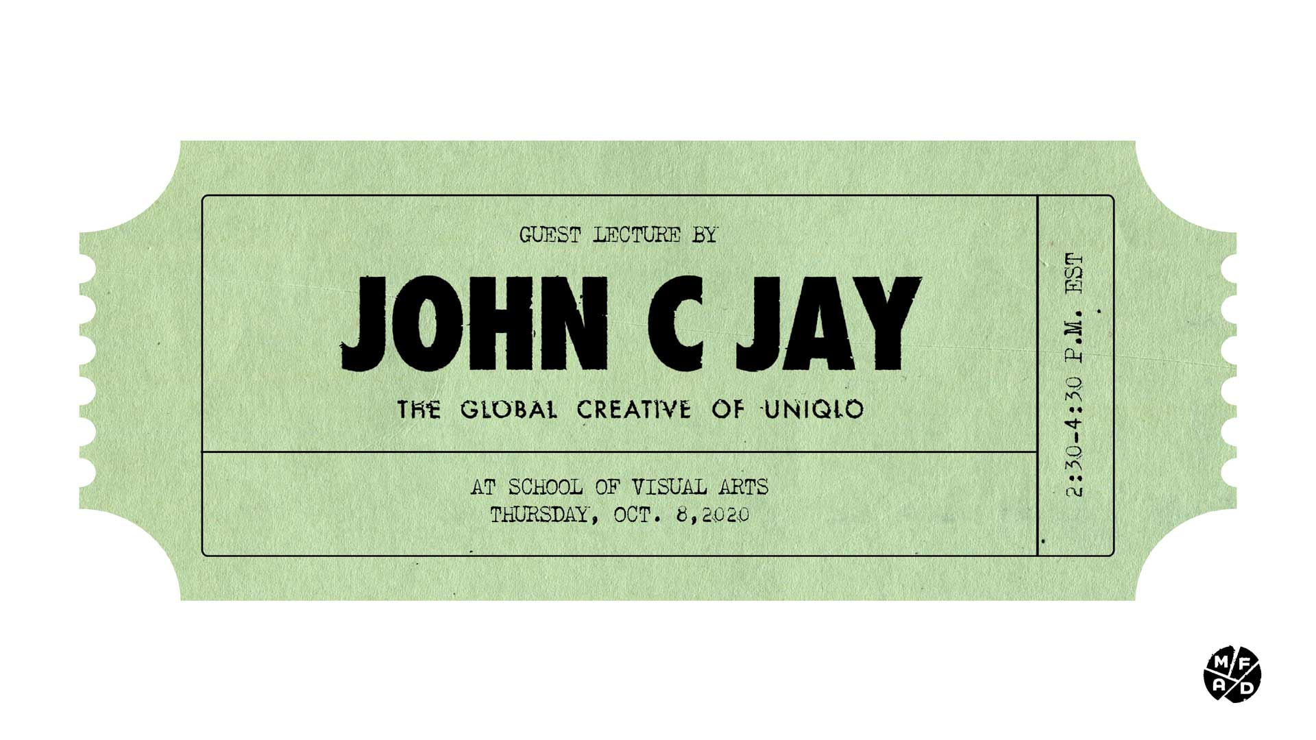 JOHN JAY LECTURE MOVIE TICKET GRAPHIC