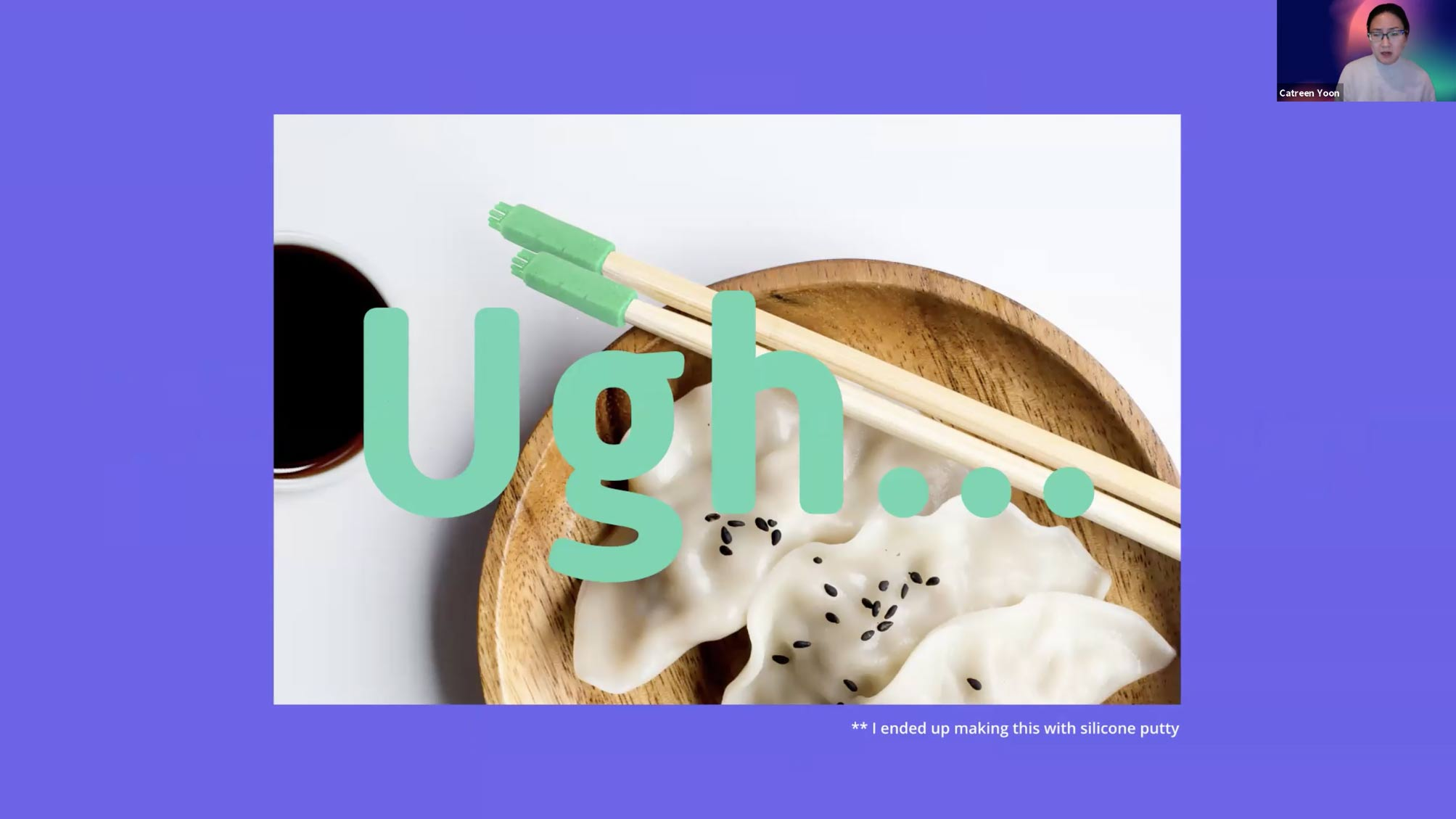 dumplings in a wooden bowl with the word ugh over the image