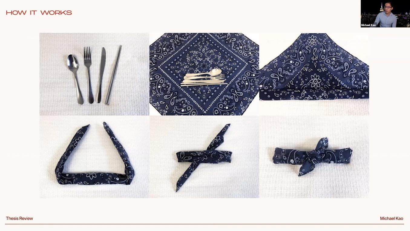 reusable utensils being folded into bandana