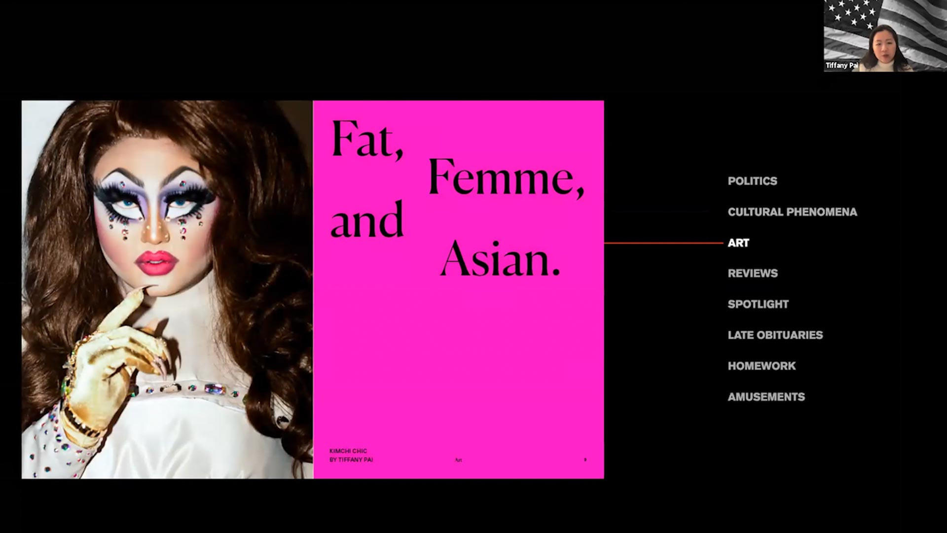 drag queen with text fat, femme and asian